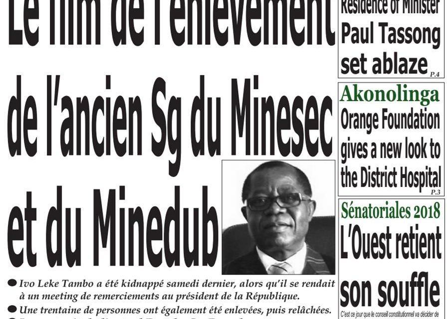 Cameroun: Journal Emergence parution du 19 Mars 2018