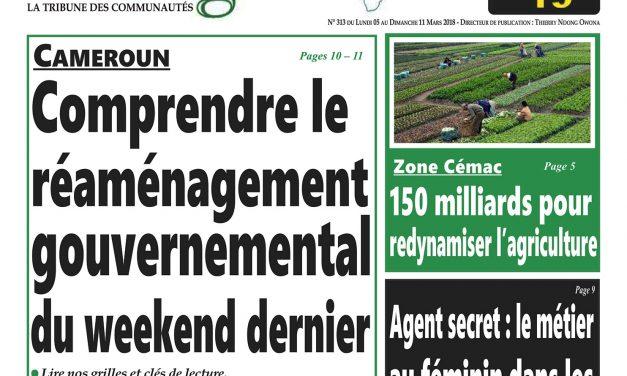 Cameroun: journal Intégration parution du lundi 5 mars 2018