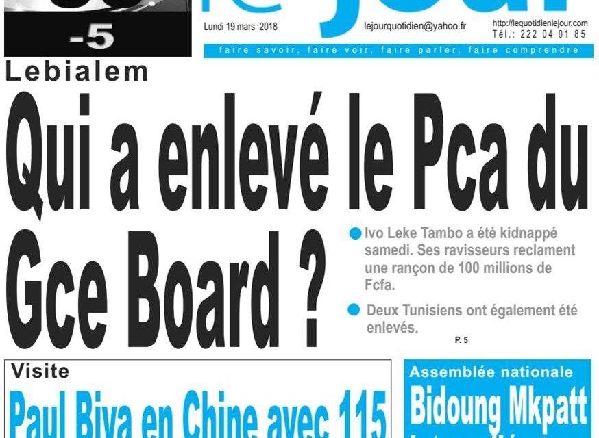 Cameroun: Journal LeJour parution du 19 Mars 2018