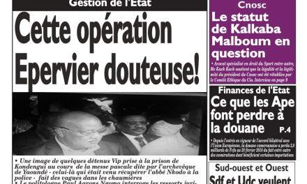 Cameroun : journal Le Messager, parution du 02 Avril 2018