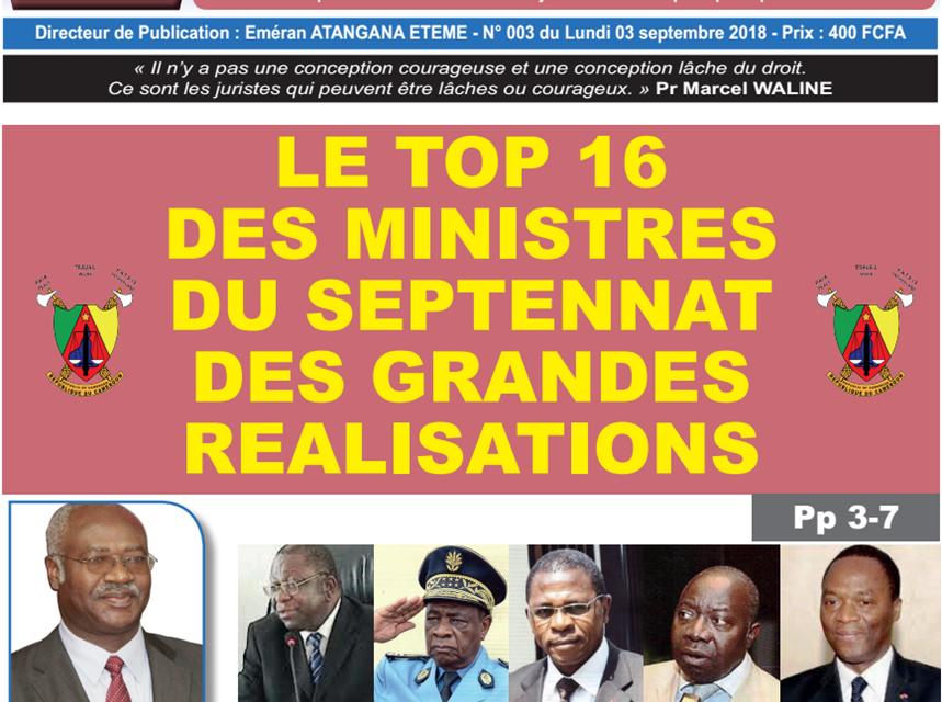 CAMEROUN: JOURNAL CAMERLEX PARUTION N° 003 DU LUNDI 03 SEPTEMBRE 2018