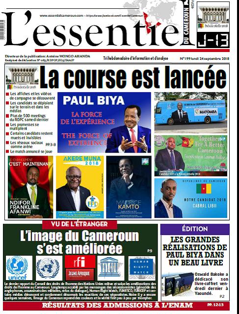 Cameroun : Journal L'essentiel parution 26 septembre 2018