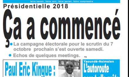 Cameroun :  Journal le jour parution 24 septembre 2018