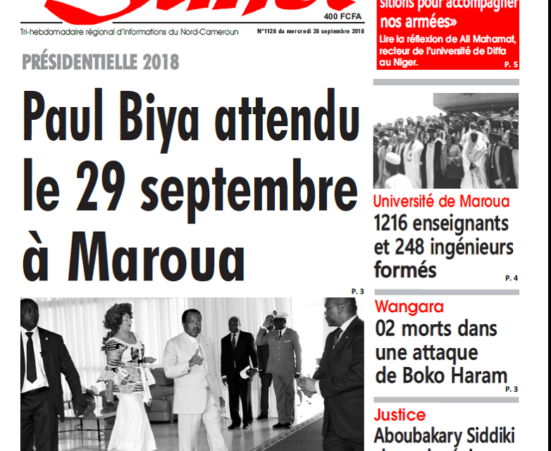 Cameroun : Journal L'œil du sahel parution 26 septembre 2018