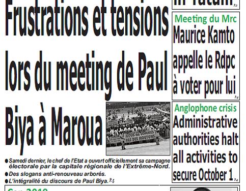 Cameroun : Journal quotidien émergence parution 1er octobre 2018