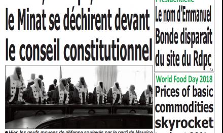 Cameroun : Journal Quotidien émergence parution 18 octobre 2018