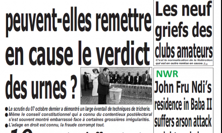 Cameroun : Journal Quotidien émergence parution 19 octobre 2018