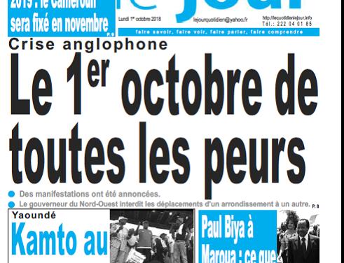 Cameroun : Journal le jour parution 1er octobre 2018
