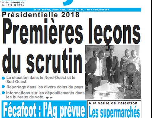 Cameroun : Journal le jour parution 08 septembre 2018