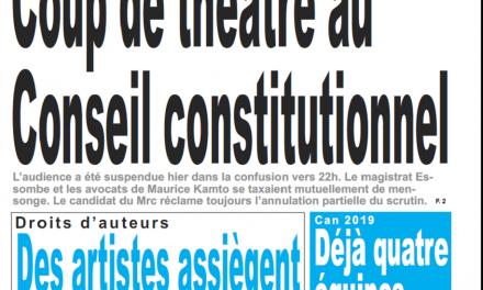 Cameroun : Journal le jour parution 18 octobre 2018