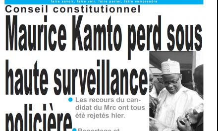Cameroun : Journal le jour parution 19 octobre 2018