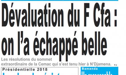 Cameroun : Journal Le jour parution 26 octobre 2018
