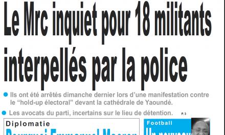 Cameroun : Journal le jour parution 30 octobre 2018