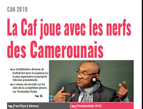 Cameroun : Journal mutations quotidien parution 1er octobre 2018
