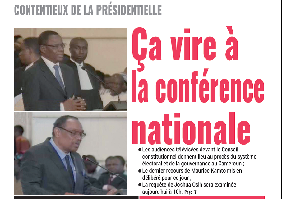 Cameroun : Journal Mutations parution 18 octobre 2018