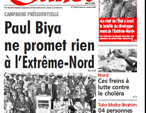 Cameroun : Journal L'œil du sahel parution 1er octobre 2018