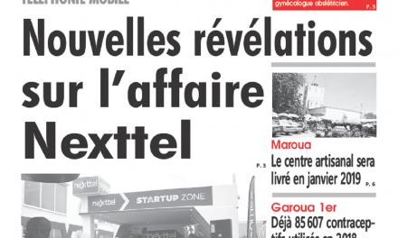 Cameroun : Journal l'œil du sahel parution 19 octobre 2018