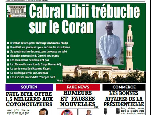Cameroun : Journal L'essentiel parution 28 septembre 2018
