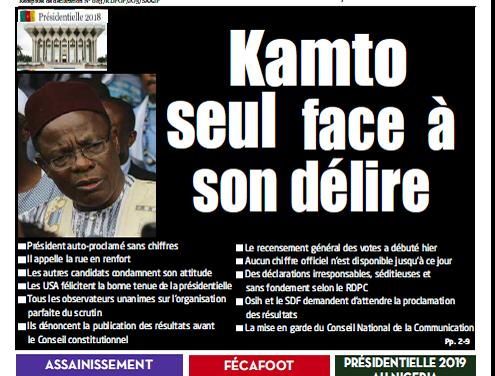 Cameroun : Journal l'Essentiel parution 10 octobre 2018