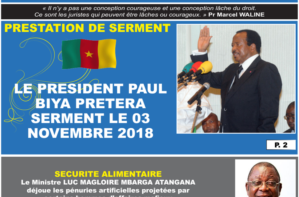 Cameroun: journal camerlex parution du lundi 29 Octobre 2018