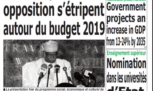 Cameroun : Journal Quotdien émergence parution 22 novembre 2018