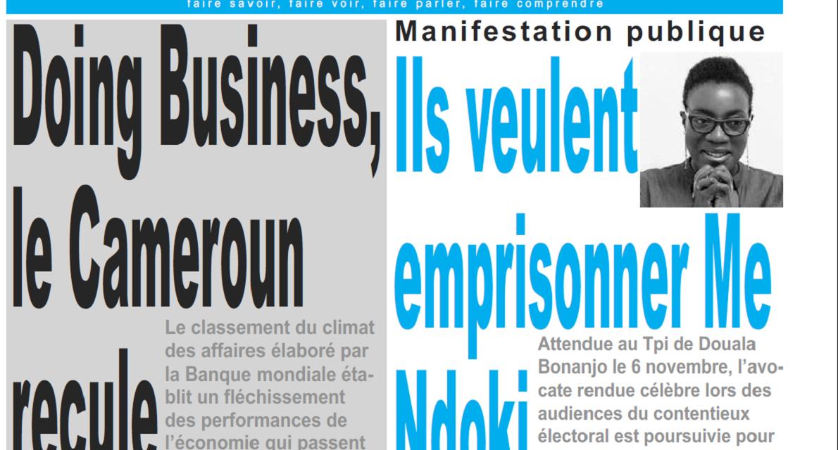 Cameroun : Journal le jour parution 1er novembre 2018