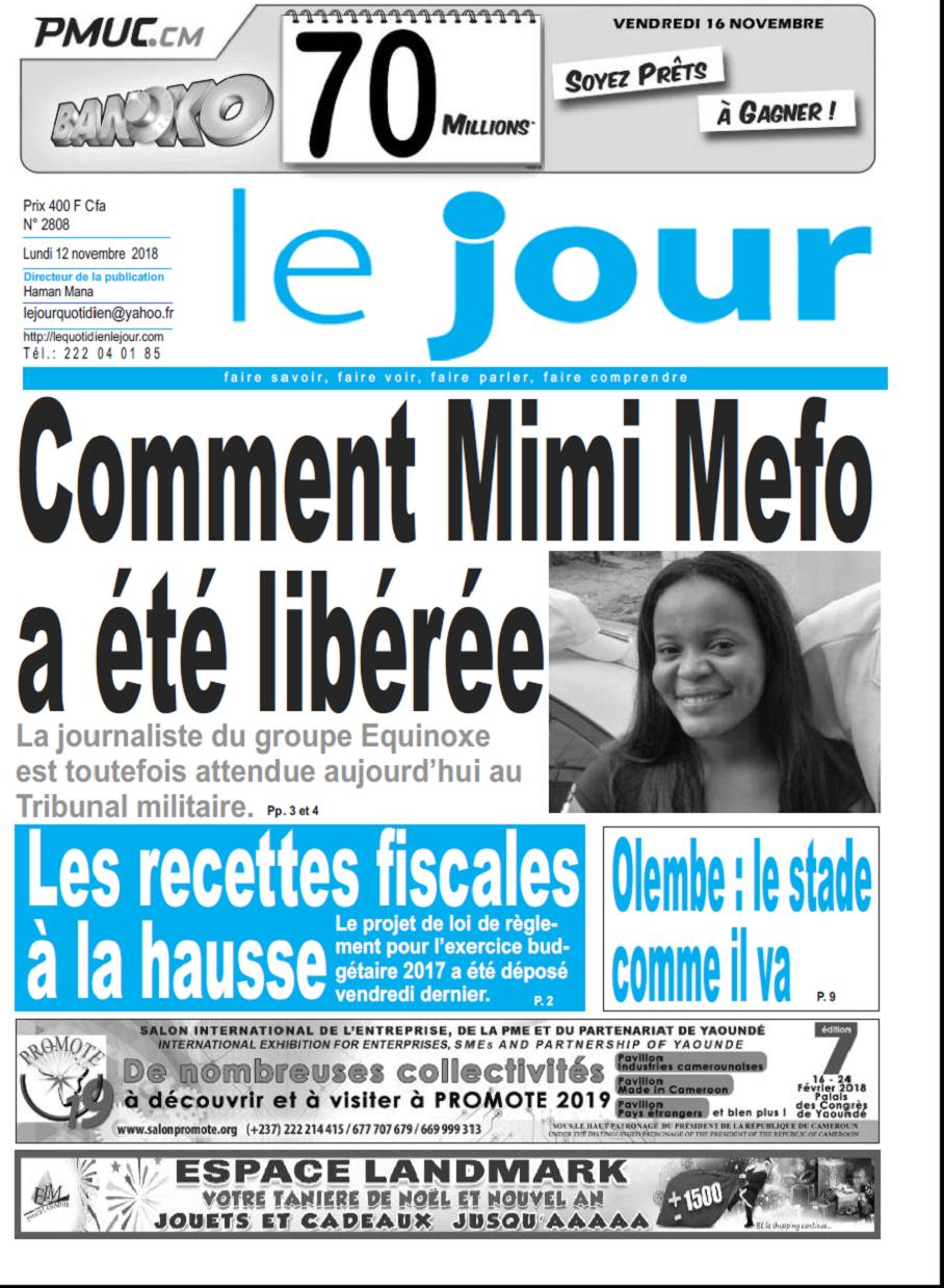 cameroun   journal le jour parution 12 novembre 2018