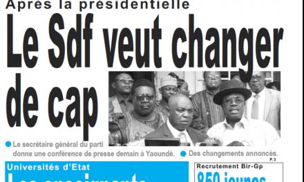 Cameroun : Journal Le jour parution 20 novembre 2018