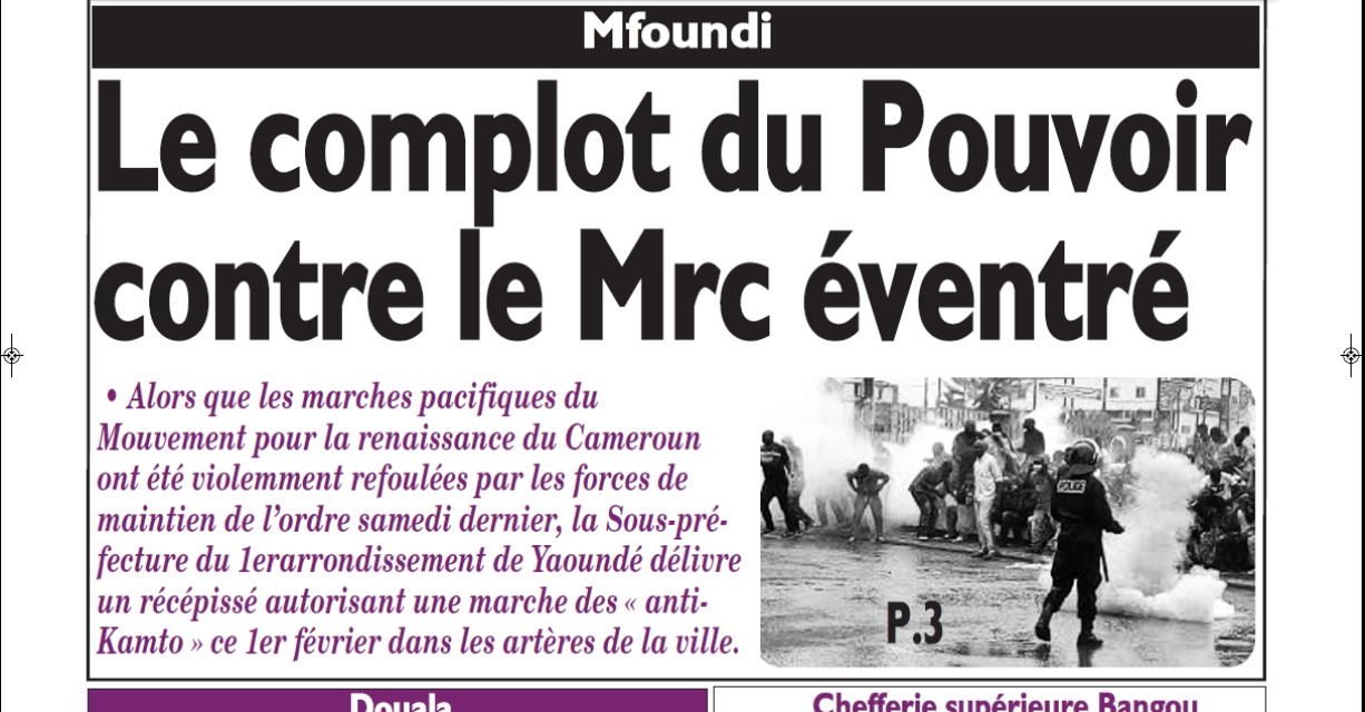 Cameroun : Le messager , parution du 1er Février 2019
